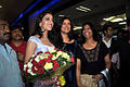 Himangini Singh Yadu with Sushmita Sen returns after winning Miss Asia Pacific World 2012 01.jpg