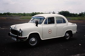 Hindustan Ambassador Taxi in Goa India, October 1994 (16668303387).jpg