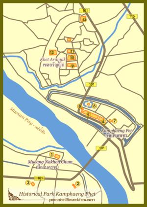 Kamphaeng Phet Province - Map of Kamphaeng Phet Historical Park