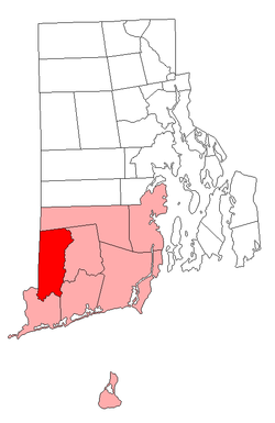 Location of Hopkinton within Washington County, Rhode Island