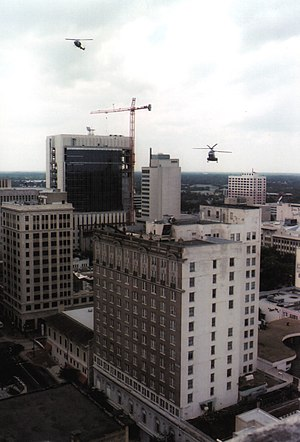 History of Jacksonville, Florida - U.S. Marines train by air in a downtown drill. In the foreground is the former Hotel Roosevelt. (Photo credit: Jeff Hilton)