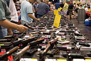 Gun show display of weapons