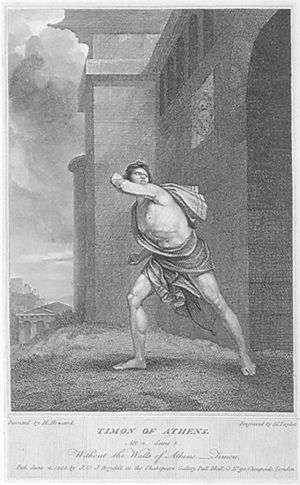 Timon of Athens - Timon renounces society (1803 engraving for Shakespeare, Timon of Athens, Act IV, Scene 1)