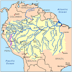 Map of the Amazon Basin with the Huallaga River highlighted