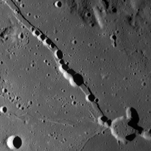 Hyginus (crater) - LRO image of Hyginus (lower right) and part of Rima Hyginus