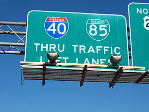 Interstate 85 Business (North Carolina) - I-40 and I-85 Business overhead sign in Greensboro
