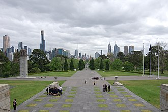 Shrine of Remembrance - Ceremonial Avenue, looking towards the city of Melbourne from the shrine