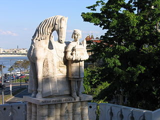 Statue of Stephen I of Hungary outside Gellért Hill Cave
