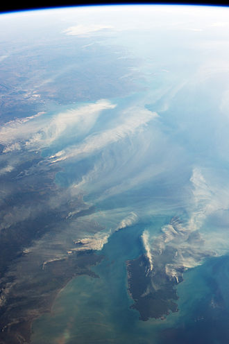 Northern Territory - The northern coast of Australia is on the left with Melville Island in the lower right