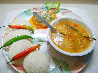 Sambar (dish) - Image: Idli Sambhar dish