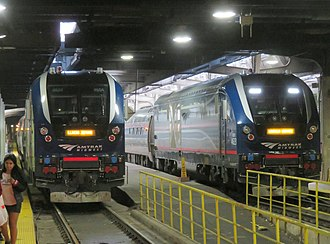Lincoln Service - Illinois Zephyr (left) and Lincoln Service trains at Chicago Union Station in 2018