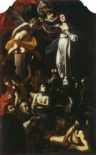 Battistello Caracciolo - Image: Immaculate Conception with Saints Dominic and Francis of Paola