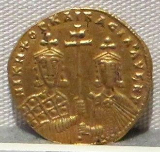 Basil II - Coin of Nikephoros II (left) and Basil II (right)