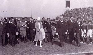 Stadio Filadelfia - Count Marone Cinzano, Princess Marie Adélaïde and the Duke of Aosta during the inauguration ceremony