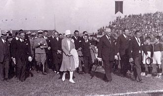 Stadio Filadelfia - Count Marone Cinzano, Princess Marie Adélaïde and the Duke of Aosta during the inauguration ceremony