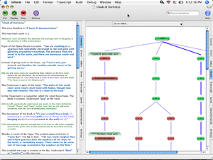 Inform - The Inform 7 IDE on Mac OS X showing source code and the skein