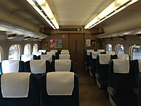 "Inside view of train ""Kodama"" stopping at Fukuyama Station.JPG"