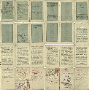 Internal passport - Pages of internal passport, issued in 1910 in Imperial Russia