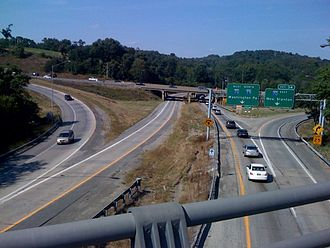 Interstate 70 in Pennsylvania - Interstate 70 (on top) merges with Interstate 79 going through Washington, Pennsylvania, shown in 2008 before reconstruction and flyover construction
