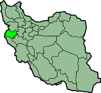Map of Iran with करमानशाह highlighted.