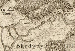 """Wormsloe Historic Site - 1780 map showing the location of Wormsloe (""""Jones""""), the Bethesda Orphan House, and Henry Parker's ferry"""