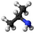 Ball-and-stick model of the isopropylamine molecule