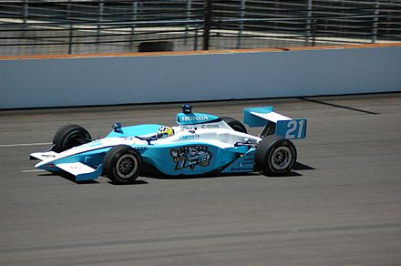 A Panoz GF09 Indycar Series chassis driven by Jaques Lazier during practice for the 2007 Indianapolis 500 JLazierIndy07.jpg