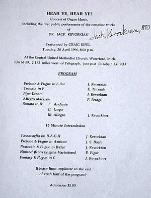 Jack Kevorkian - Concert program from Jack Kevorkian's 1996 concert