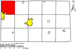 Location of Jackson Township (red) in Seneca County, adjacent to the city of Fostoria (yellow).