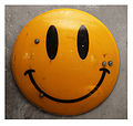 James Cauty Smiley Riot Shield, acrylic on appropriated ex-police riot shield, 2014.jpg