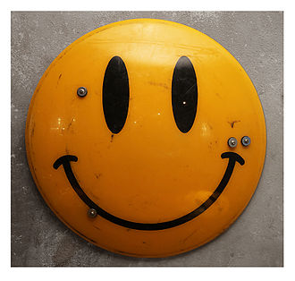 Jimmy Cauty - James Cauty Smiley Riot Shield, acrylic on appropriated ex-police riot shield, 2014