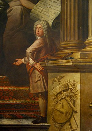 James Thornhill - Self portrait, detail of a painting in the Painted Hall of the Greenwich Hospital, Greenwich, London