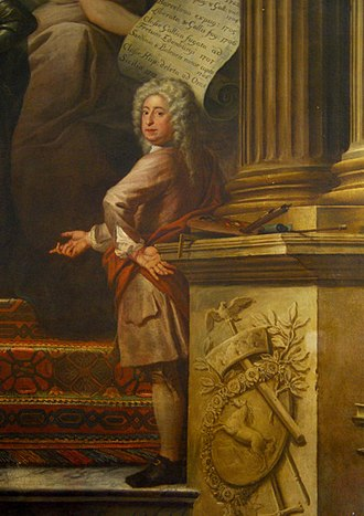 Art of the United Kingdom - Self-portrait of Sir James Thornhill in a corner of the Painted Hall, Greenwich
