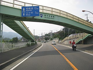Japan National Route 412 road in Kanagawa prefecture, Japan