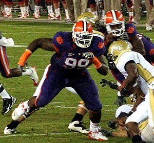 Jarvis Jenkins - Jenkins playing against Georgia Tech during his tenure at Clemson in 2009.