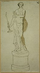 Design for a statue of a woman with candlestick