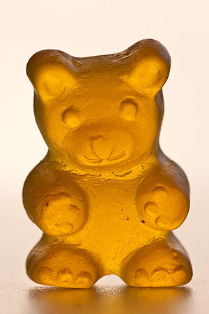 Detailed view of a yellow gummi bear.