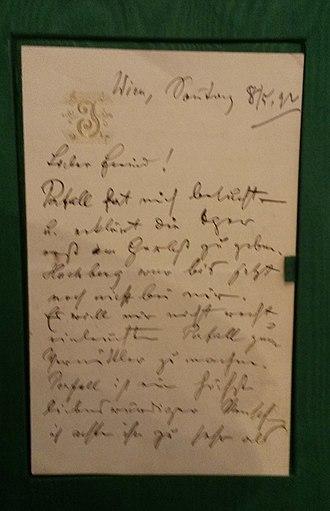 Museum der Johann Strauss Dynastie - Image: Johann Strauss II Brief