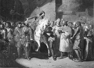 Anno 1252. Gijsbrecht van Amstel en Herman van Woerden worden in krijgsgevangenschap naar Utrecht gevoerd