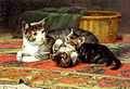 John Henry Dolph A Cat with her Kittens.jpg