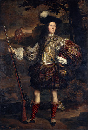 Belted plaid - A drawstring under the plaid and a belt over it may both be visible in this late 1600s portrait of Lord Mungo Murray.