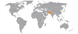 Map indicating locations of Pakistan and Jordan