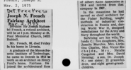 Joseph Nathaniel French I (1888-1975) obituary in the Detroit Free Press on March 2, 1975