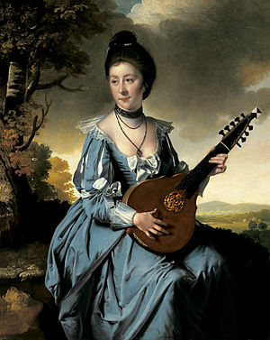 English guitar - Mrs. Robert Gwillym playing an English guitar, painting by Joseph Wright of Derby (1766)