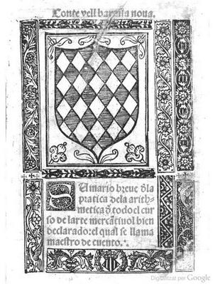 Juan Andres (Burrul) - Front page of Sumario breve de la practica de la aritmetica (1515)