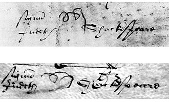 "Judith Quiney - Judith Shakespeare's ""pigtail"" mark (a cursive ""J"" facing down). The given name and surname were added by a law clerk."