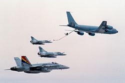 KC-135F refueling Mirage 2000 and F-18C 1994