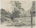 KITLV - 36C190 - Borret, Arnoldus - In Paulus Creek at the Plantation Bleyendaal - Pencil - Circa 1880.tif