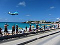 KLM Airplane Landing Passing Over Maho Bay Beach 1 (6544018145).jpg