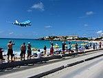 KLM Airplane Landing Passing Over Maho Bay Beach 1 (6544018145).jpg